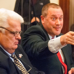 Sen. Ronald Collins, R-Wells, left, and his attorney Josh Tardy appear before the Senate Ethics Committee on Thursday at the State House. The panel found that Collins did not behave in an unethical fashion when he pre-paid for lodging with campaign funds and then later requested a state per diem allowance for the same expense.
