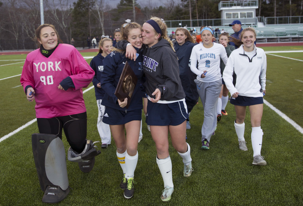 York celebrates its Class B South field hockey regional championship, its 53rd straight win.