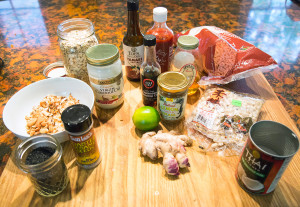 An assortment of Asian ingredient which will be used by Christine Burns Rudalevige to make Nutty Thai Granola Bars.