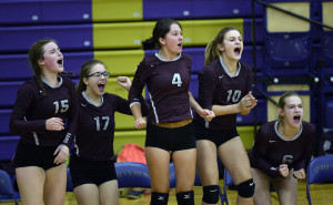 Gorham's bench reacts as the Rams defeat Cheverus on Thursday. Left to right, Katherine O'Donnell, Collette Romatis Abagail vanLuling, Sara Slager and Evelyn Kitchen.