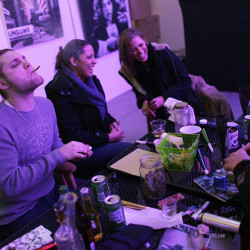 Club 64, a marijuana social club in Denver, celebrates its opening on New Year's Eve 2012. Maine communities are scrambling to enact moratoriums to buy time to consider if they will put restrictions on such clubs if voters approve Question 1 on Nov. 8. Associated Press/Brennan Linsley