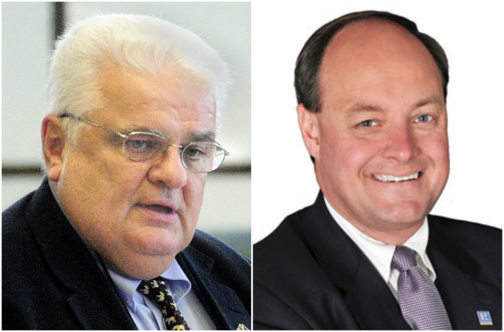 Maine Sens. Ronald Collins, of Wells, left, and Andre Cushing, of Newport, have been accused of requesting expense reimbursement from the Senate office for things they had previously paid for with funds from their re-election campaigns or political action committees.