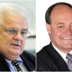 Maine Sens. Ronald Collins of Wells, left, and Andre Cushing of Newport have been accused of requesting expense reimbursement from the Senate office for things they had previously paid for with funds from their re-election campaigns or political action committees.