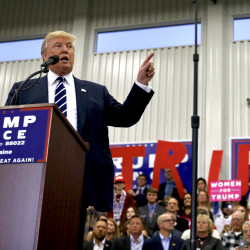 Donald Trump speaks at a rally in Lisbon on Friday. Ben McCanna/Staff Photographer