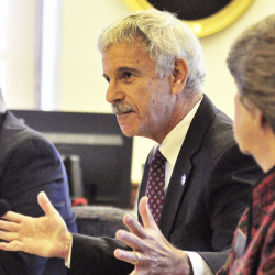 Sen. Roger Katz, R-Augusta, questions why Sen. John Patrick, D-Rumford, isn't present during a Senate Conduct and Ethics Committee hearing Thursday morning that was convened to review allegations lodged by Patrick and Sen. Justin Alfond, D-Portland, against two Senate Republicans. Kennebec Journal/Joe Phelan