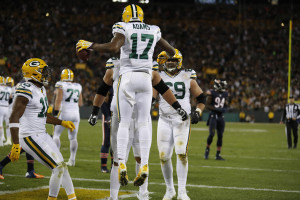 Green Bay Packers wide receiver Davante Adams (17) celebrates after making a touchdown catch during the second half of an NFL football game against the Chicago Bears, Thursday, Oct. 20, 2016, in Green Bay, Wis. (AP Photo/Matt Ludtke)
