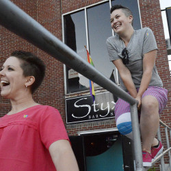 PORTLAND, ME - JUNE 26: L to R, Lucy Adolphson of Portland and Nishell Ayer of Biddeford outside Styxx bar in Portland where they were celebrating the Supreme Court's ruling on same-sex marriage. Friday, June 26, 2015. (Photo by Shawn Patrick Ouellette/Staff Photographer)