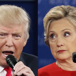 The last in a trio of presidential debates, Wednesday's contest in Las Vegas comes just under three weeks from Election Day. Photos by Reuters, left, and Associated Press